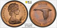 1967 CANADA SILVER DOLLAR PCGS PL67 UNC BU TONED COLOR FINEST KNOWN WORLDWIDE 10
