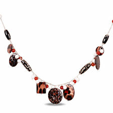 Amour Silvertone Zebra, White Agate and Carnelian 32-inch Necklace