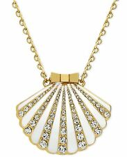 KATE SPADE NEW YORK 12K Gold-Plated White Crystal Shell Locket Pendant Necklace