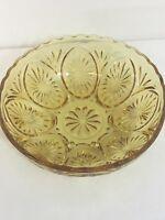 """Depression Glass Amber Gold Serving Bowl Sunburst Scalloped Vintage Top 8"""" dia"""