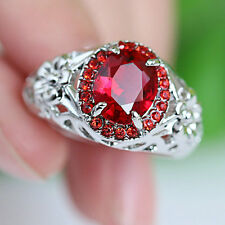 Size 9 Noble Red Ruby CZ Wedding Ring Women's 10KT White Gold Filled Jewelry
