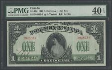 CANADA DC-23a 1917 $1 SERIES A-H XF PMG 40 EXCEPTIONAL PAPER QUALITY WLM1205