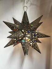 Moravian Star Pierced Metal Glass Pendant Light Lamp Hanging w/marbels 16 inches