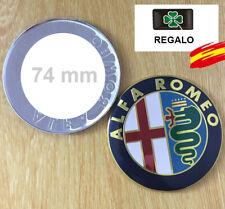 2 x Emblemas Logo Insignia  74 mm para Alfa Romeo Mito GOLD  147 159 GT + Regalo