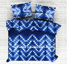 Shibori Indigo Bedspread Tie Dye Cotton Ikat Bedding Throw With Pillow Covers