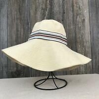 Liz Claiborne Women's Floppy Wide-Brim Tan Striped Band Sun Hat