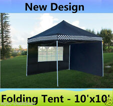 10' x 10' Pop Up Canopy Party Tent Gazebo Ez - Black Checker - E Model