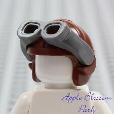 NEW Lego Minifig Brown Aviator PILOT HAT - Helmet Cap w/Gray Goggles Head Gear