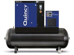2021 Quincy QGS-15 Rotary Screw Air Compressor 15 HP w/ Dryer & 120 Gallon Tank