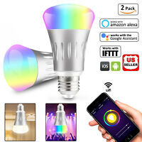 2Pcs Wifi Smart Scene Light Bulb LED Dimmable Work With Google Home Amazon Alexa