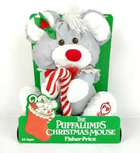 Fisher Price Gray Christmas Mouse Puffalumps Plush Toy  #8016 Vintage 1987 New
