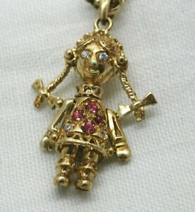 Pretty 9 carat Gold Gem Set rag Doll Pendant And Chain