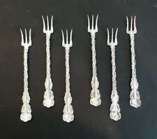 """SET/6 ANTIQUE WHITING """"LOUIS XV"""" STERLING SILVER SEAFOOD/COCKTAIL FORKS, c. 1891"""