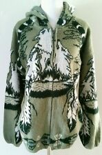 VINTAGE 70S 70S WOLF NATIVE AMERICAN FEATHER HOODIE SWEATER SZ L XL 12 14 16