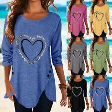 Women Irregular Long Sleeve T Shirt Crew Neck Casual Tops Loose Blouse Tunic