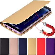 For Samsung S9 S8 S7 S6 S5 A3 A5 A8 Magnetic Slim Leather Wallet Flip Case Cover
