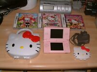 PINK DS LITE CONSOLE + 3 X HELLO KITTY GAMES, CASE + CHARGER