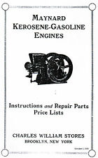 Maynard Kerosene Gas Motor Engine Hit Miss Book Manual Instructions Staionary