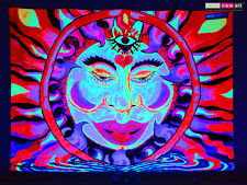 Psychedelic Goa Sun UV Tapestry Fluorescent Backdrop Wall Hanging Party Decor