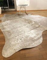 Kuhfell Rinderfell Stierfell Cowhide Hellgrau Silber Matt - 220 cm x 195 cm