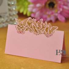 24pcs Table Place Name Cards For Wedding With Delicate Pink Butterfly Design