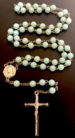 Vintage Catholic Celadon Green  Rosary, SilverTone Center,Crucifix, Italy