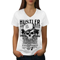 Wellcoda Gamer Skull Womens V-Neck T-shirt, Gangster Graphic Design Tee