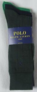 Polo Ralph Lauren 3 Pairs Dress Socks Green Navy Checkered Solid NWT