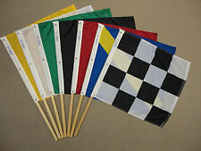 Official Auto Racing Mounted Nylon Seven Flag Set Start Checker Yellow 2' x 2'