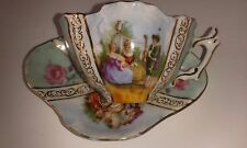 ANTIQUE  QUATREFOIL TEA CUP AND SAUCER CABINET SET WITH GERMAN MAKERS MARKS