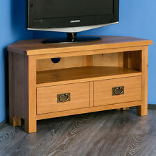 Surrey Oak Corner TV Stand / Solid Wood Plasma Corner TV Unit / Rustic Oak / New