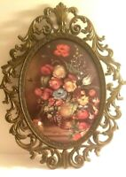 Vintage Metal Italian Ornate Oval Picture Frame Floral Print Convex Glass 13""
