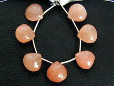 Natural Peach Moonstone Faceted Heart Briolette Semi Precious Gemstone Beads 003