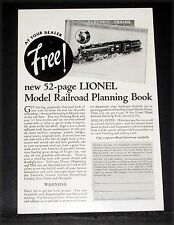 1932 OLD MAGAZINE PRINT AD, LIONEL ELECTRIC TRAINS, YOUR DEALER, PLANNING BOOK!