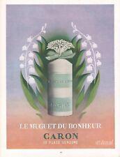 Publicité Parfum Caron Le Muguet du Bonheur perfume  vintage print ad  1953 - 9J