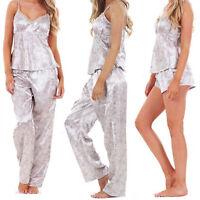 Ladies Women 3 Piece Satin Pyjama Set Vest Lace Shorts PJ'S Nightwear Nighty