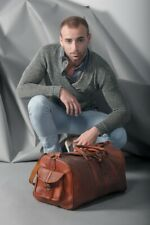 Bag Leather Duffel Travel Men Luggage Gym Vintage Genuine Weekend Overnight New