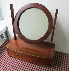 Antique Mahogany Veneer Shaving Stand w/Round Mirror, Dovetail Drawer, 1860-1880