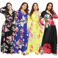 Women's Plus Size V Neck Long Sleeve Belted Floral Maxi Wrap Dress Party Evening