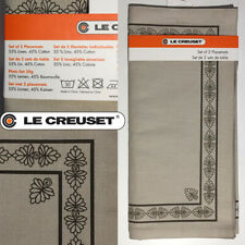 New LE CREUSET Frog Expresso Linen Placemats with Decorative Border (Set of 2)