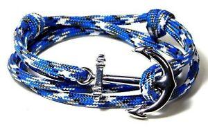 Nautical Anchor Bracelet Vintage Adjustable Paracord Men Women Hand Made USA