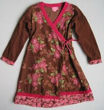 ROOM SEVEN Girls 8 Yrs Brown Pink Floral Corduroy Wrap Dress 128 cm
