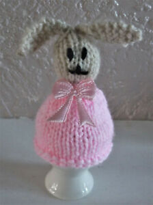 Hand knitted bunny egg cosy.