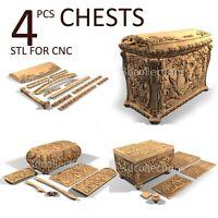 3d stl model cnc router artcam aspire 4 pcs chest collection basrelief