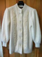 LNWOT LEE SANDS ANGORA RABBIT HAIR CARDIGAN SWEATER COAT WOMENS OS L XL FUZZY