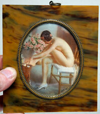 RARE Full Nude Portrait Painting of Young Lady Lotioning Legs in Bakelite Frame