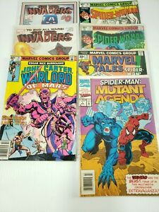 Marvel Comics Mixed Lot of 7 Spider man, Spider Woman, Invaders