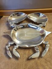 """Pewter Crab Seafood Serving Bowl Dish 11.75"""" x 11.25"""" x 2"""" Free Shipping"""
