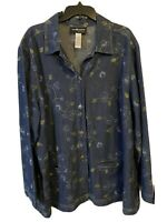 Sag Harbor Cotton Lightweight Denim Floral Embroidered Button Top Jacket 3x