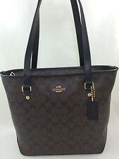 New Authentic COACH F58294 Zip Top Tote Handbag Purse Shoulder Bag Brown Black